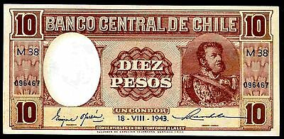 Chile. Ten Pesos, M38 096467, 18-VIII-1943, Good Extremely Fine.