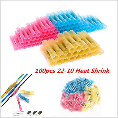 100p 22-10AWG Assorted Heat Shrink Butt Electrical Wire Crimp Terminal Connector