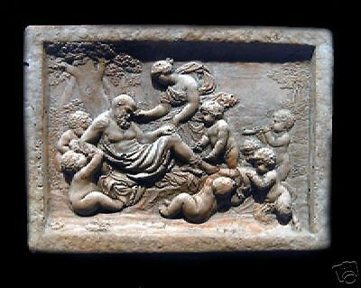 Dionysus plaque art sculpture home decor collector wall stone relief tile