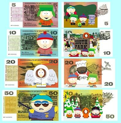 Set Of 4 South Park Fun Australian Notes 2 Sided