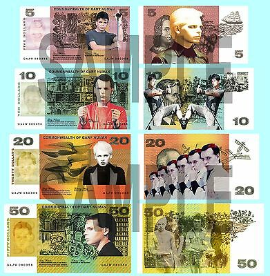 Set Of 4 Gary Numan Double Sided Fun Australian Notes