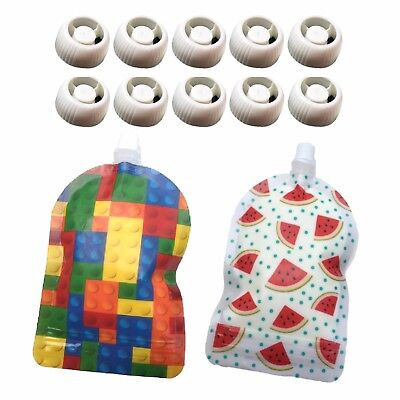 My Lil Pouch 140ml Bricks & Watermelon Top Spout Reusable Food Pouch 10pk