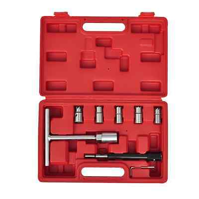 New Universal 9pc Diesel Injector Seat Cutter Tool Kit Flat Angled Reamer Set