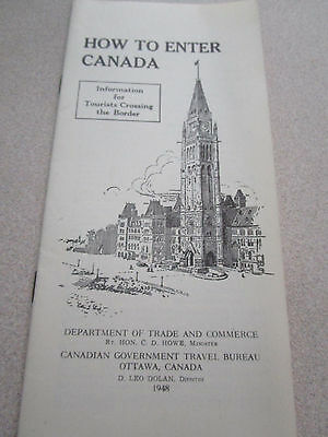 Vtg 1948 How To enter Canada Tourists Guide / Crossing the Border Ottawa Canada