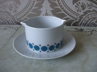 Vintage Retro Thomas China Germany Blue Atomic Style Gravy Boat  Attached Saucer