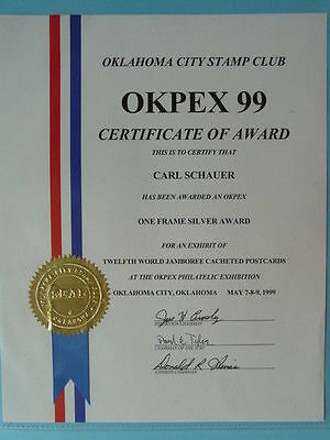 award OKPEX 1999 Okhlahoma for scout collection 2739