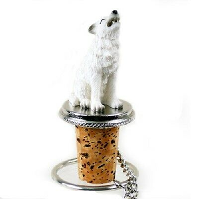 WHITE WOLF animal CORK WINE BOTTLE STOPPER resin HAND PAINTED FIGURINE new
