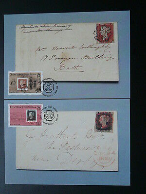postal history stamp on stamp black penny x2 maximum card Guernsey 71192