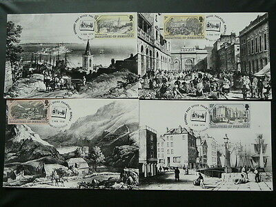 Guernsey harbour in 1830 set of 4 maximum card Guernsey 71191