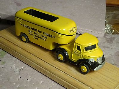 SEMI truck paper weight business card holder  EXC folk art? one of