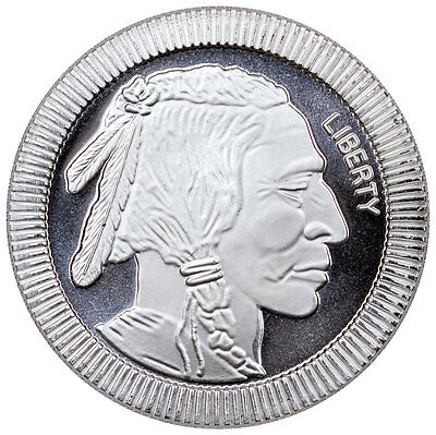 1 Troy oz. .999 Fine Silver American Indian Buffalo Stacker Round SKU45164