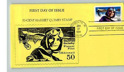 HARRIET QUIMBY Airmail First Day of Issue, 1991, canc. Plymouth, Michigan, yello