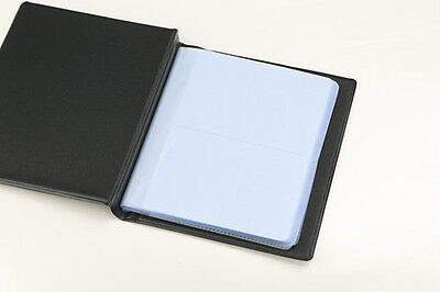 Black Leather 200 Business Name Card Holder Book Wallet Cover Case Pouch Folder