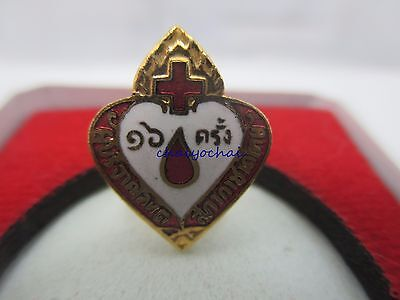 *rare* Thailand,thai Red Cross Medal Pin For Blood Devotion 16 Times