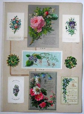 13 Victorian 1879-89 Scrapbook Album pages 96 Xmas New Year Easter B'day Cards