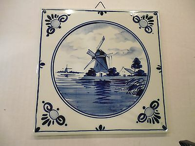 """Dutch Delft Blue Handpainted 6"""" Square Tile Holland Trivet Wall Hanging Windmill"""
