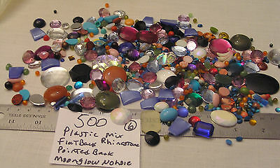 HUGE Lot 500 Vtg Flatback Cabochon Jewelry Craft Repair Plastic Thermoset Lucite