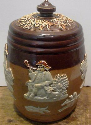 FABULOUS ROYAL DOULTON COVERED JAR w/ HUNT SCENES MINT