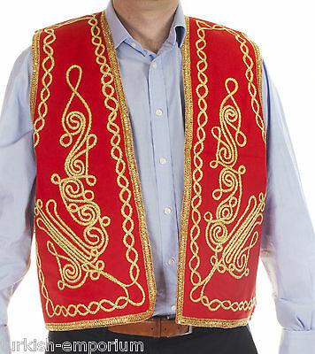 Turkish Waistcoat Ottoman Hand Embroidered Vest Gold Brocade Ethnic Costume NEW