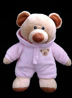 "2015 Ty Pluffies Baby Girl Pink Teddy Bear 10"" Stuffed Plush Lovey Pajamas/PJ's"