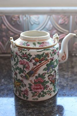 "Antique Chinese ROSE MEDALLION TEAPOT w/ Woven Handle 6"" Pheasants Butterflies"