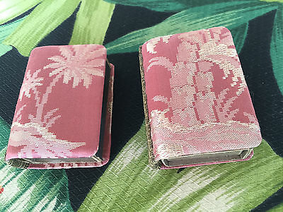 VINTAGE ANTIQUE VICTORIAN PALM TREE Satin TAPESTRY MATCH BOX HOLDERS ~ 2 pc