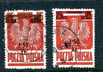POLAND. 1945 RARE SHADE 1.50z on 25g BROWN-RED Overprint, Fine Used HIGH CAT VAL