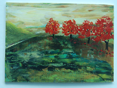 "ACEO Original Mini Acrylic Painting 2.5 X 3.5""  Red Maples ART by CAROLE"