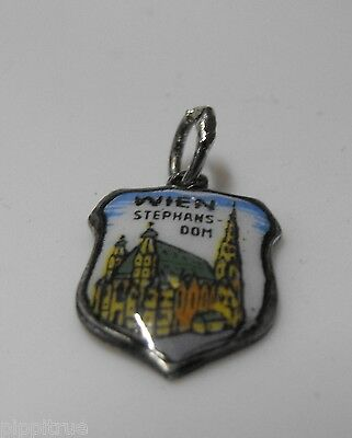 EHJ Versilbert silver shield enameled charm Stephansdom St. Stephen's Cathedral