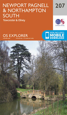 Newport Pagnell and Northampton South 207 Explorer Map Ordnance Survey with Digi