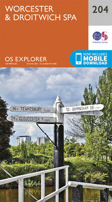 Worcester and Droitwich Spa 204 Explorer Map Ordnance Survey 2015