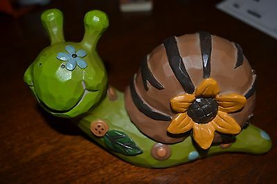 Colorful Tan Green Decorative Smiling Snail Figurine Collectible With Sunflower