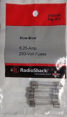 New RadioShack Slow-Blow 6.25-Amp 250-Volt Fuses Pack Of 4,  270-0130  -2