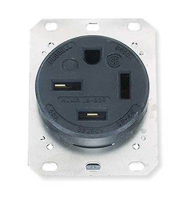 HUBBELL WIRING DEVICE-KELLEMS HBL8450A 50A 4W Single Receptacle 250VAC 15-50R BK