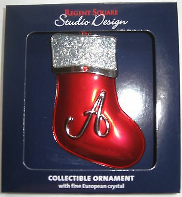 Regent Square Red Stocking Christmas Ornament Monogram Letter A Initial New MIP
