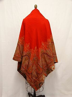 ANTIQUE 19th C PAISLEY WOOL SHAWL Red Challis Lg Center Paisley Woven Borders