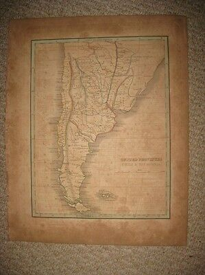 Early Antique 1835 Patagonia Argentina Chile South America Bradford Handcolr Map