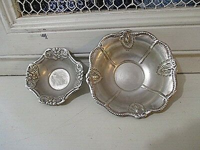 Two STUNNING Ornate Vintage Silver Bon Bon Bowls  Indian Silver?  Marked Silver