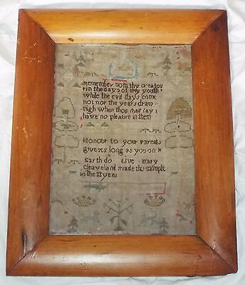 EARLY RARE Antique QUOTE SAMPLER Framed Embroidery MARY CLEAVELAND 11th Year