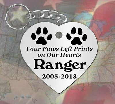 Paws Left Prints, Heart Shape~ PERSONALIZED Pet Memorial Keychain, Dog