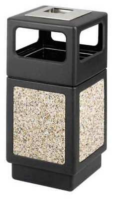 38 gal. Black Plastic Square Trash Can/ Ash Tray SAFCO 9473NC