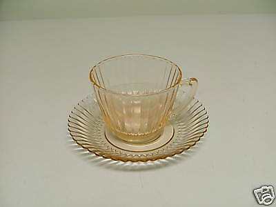 Macbeth Evans Glass PETALWARE Pink Cup & Saucer Set Depression 1930-1940