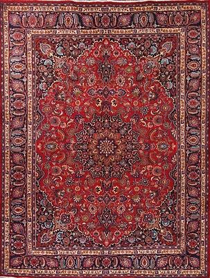 """Great Deal Hand Knotted Red 9x12 Mashad Persian Oriental Area Rug 12' 5"""" x 9' 6"""""""
