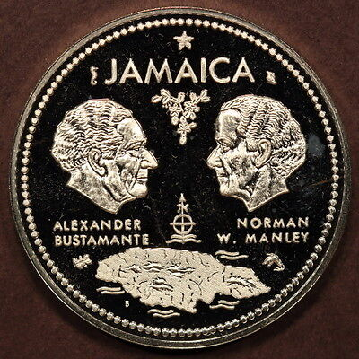 "Jamaica 10 Dollars 1972 ""Bustamante-Manley-Map"" Silver Gem Proof"