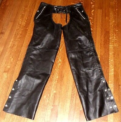 """Interstate Black Leather Mens Chaps - Size Large - Waist To Leg Cuff Is 41"""""""