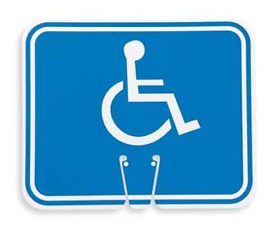 Traffic Cone Sign,White/Blue,Handicapped ZORO SELECT 03-550-H