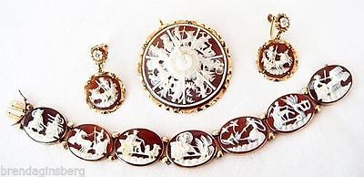 Antique Cameo Set Earrings Brooch Pendant Bracelet Gold Signed G Noto (#4608)