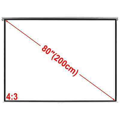 """New Projector Screen 78"""" 4:3 Home Theatre Class Office 3D HD TV Movie Projection"""