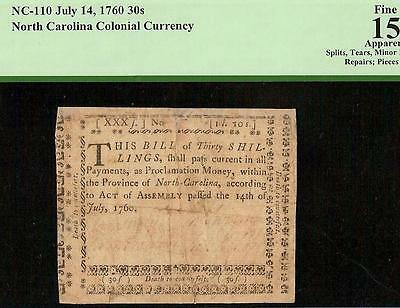 1760 North Carolina Colonial Currency 30 Shillings Note Old Paper Money Pcgs 15