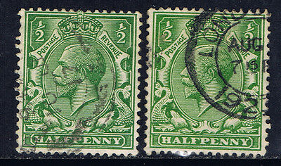 Great Britain #159(2) 1912-13 1/2 pence green George V 2 Used CV$2.20